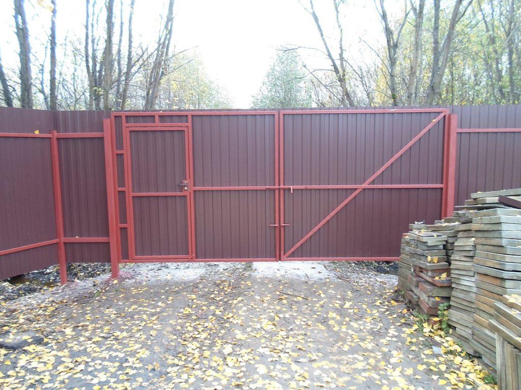 Забор ворота с встроеной калиткой